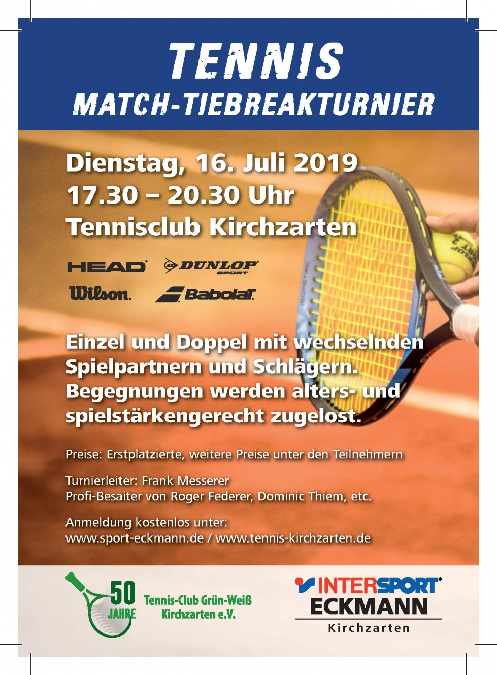 Match-Tiebreak-Turnier mit Frank Messerer am 16. Juli
